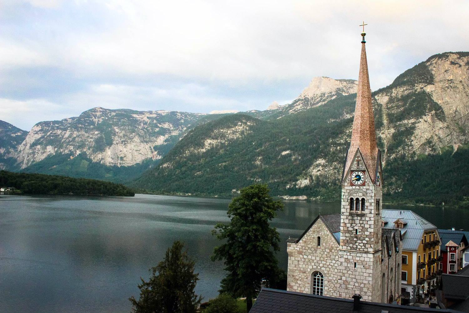 Austrian church set in front of lake