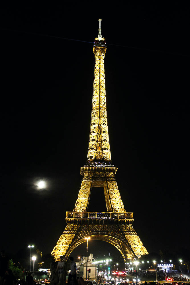 Moon next to Eiffel Tower